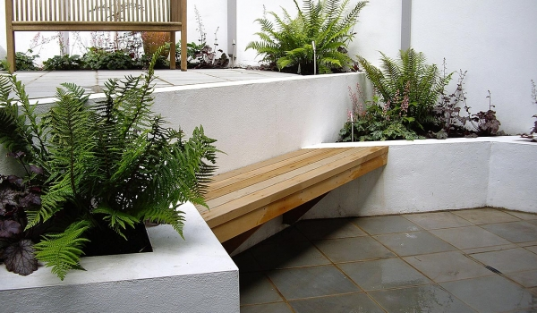 Small Contemporary Shaded Garden Design in London